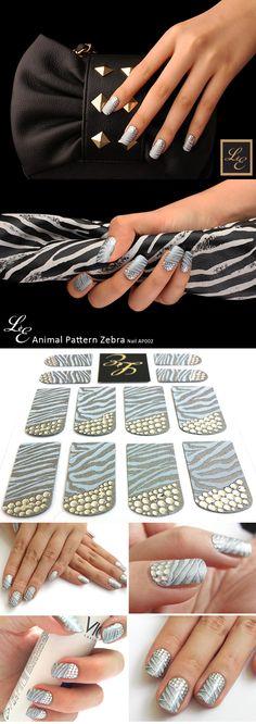 [LE nail] Nail Polish - Animal Pattern Zebra       Professional tailor-made Nail Art & High quality Design nail     USD 16.9 -> USD 12.5 (25% Off)     Brand : LE nail  24 nail polish strips  Made in Korea