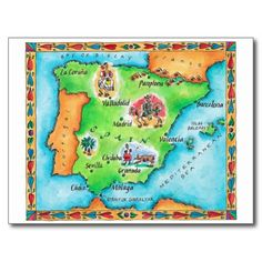 Shop Map of Spain Postcard created by prophoto. Map Of Spain, New Spain, Aztec Empire, Inca Empire, Granada, Personalised Postcards, Spanish Culture, East Indies, Custom Posters