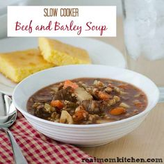 Slow Cooker Beef and Barley Soup - Real Mom Kitchen