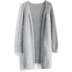 Chicwish Comfy Fluffy Knitted Cardigan in Grey ($59) ❤ liked on Polyvore featuring tops, cardigans, grey, gray cardigan, fuzzy cardigan, longline cardigan, open front cardigan and gray top