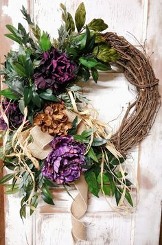 Front Door Wreath, Ready to ship, Purple peony wreath, Outdoor wreath, wedding wreath, Peony Wreath, Grapevine wreath, Hydrangea Wreath by FarmHouseFloraLs on Etsy