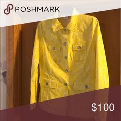 Field Jacket (spring '17) Nonsmoking home. Excellent condition. Never worn/sample only. The Field Jacket is packed with interest—cool metal buttons, flap pockets, gussets on the sleeves, princess seaming, a back vent, and a printed stripe binding.  Yellow and white print Casual jacket shape Stretch cotton  Fabric: 96% Cotton, 4% Spandex CAbi Jackets & Coats
