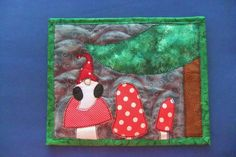 Gnome and Mushrooms Mini Quilt, Snack Mat, Mug Rug, Small Placemat. Scandinavian Christmas. By IsabellasWhimsy on Etsy.