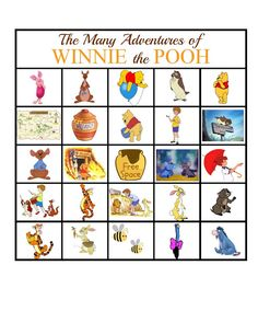 One Tough Mother: The Many Adventures of Winnie the Pooh BINGO Game #disneywinnie