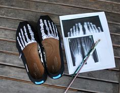 Custom Hand Painted TOMS -- Skeleton X-ray Boney feet on Black Canvas Classic TOMS Shoes -- Customizable from B Street Shoes. Saved to Custom shoes.