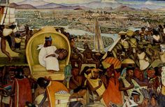 The Market of Tlatelolco - panel of Diego Rivera mural from the Palacio Nacional, Mexico City Diego Rivera, History Timeline, Us History, Ancient History, Mural Painting, Large Painting, Arte Latina, Frida And Diego, Mesoamerican