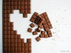 Chocolate Pixel Blocks by Tithi Kutchamuch for sending sweet messages. Cadbury Chocolate, I Love Chocolate, Chocolate Heaven, Chocolate Lovers, Chocolate Recipes, Chocolate Photos, Chocolate Dreams, Chocolate Chocolate, Marshmallow