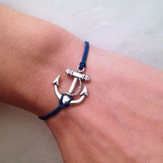 Navy Blue SILK CORD With  Anchor Wish Bracelet by pier7craft, $6.50