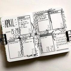 Bullet journal weekly layout, flower drawings. | @grandezzasjournal