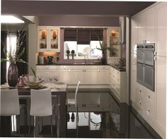 pale green dark grey and purple kitchen - Google Search
