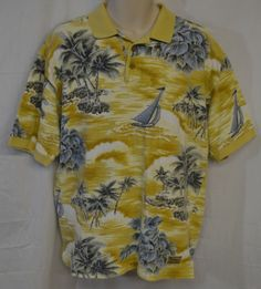 Tommy Bahama Men's Medium Polo Shirt Sailboats Yellow Floral Hawaiian Aloha #TommyBahama #PoloRugby