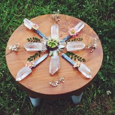 Beautiful spring crystal grid by Spiritual Daisies