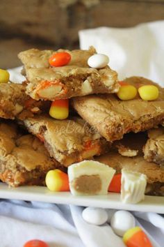 White Chocolate Candy Corn Peanut Butter Blondies - Rose Bakes