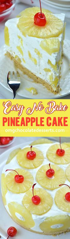 No Bake Pineapple Cake is quick and easy summer dessert recipe. Plus, this quick and easy desert recipe is totally NO BAKE which is exactly what you want in the summer. #pineapplecake #pineapple #nobakerecipes #cakerecipes