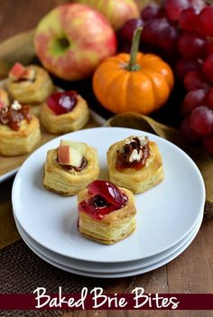 Baked Brie Bites are the perfect holiday appetizer. Three different ways to top them! | iowagirleats.com