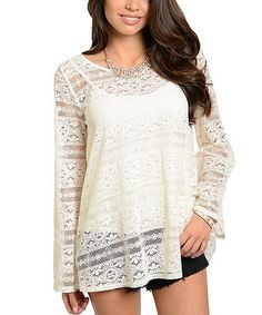 This Cream Lace Tunic is perfect! #zulilyfinds
