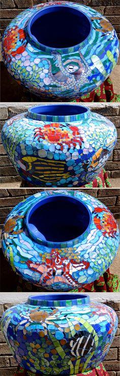 Ceramic sea themed glass mosaic pot