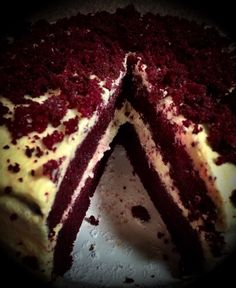 Creative way of displaying and photographing my tummy red velvet cake.