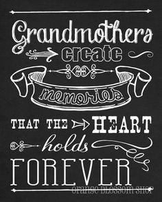 """8x10 Chalkboard digital print """"Grandmas creat memories that the heart holds forever"""". $12.00, via Etsy."""