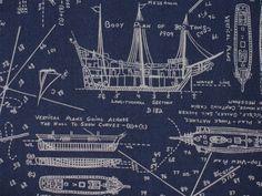 Sailboat blueprints make great beachy wall art design inspiration sailboat blueprint fabric malvernweather Image collections