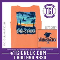 TGI Greek - Alpha Tau Omega - Spring Break - Greek Shirts #tgigreek #alphatauomega #springbreak