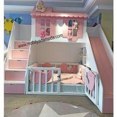 Girl's bedroom/playroom Bed For Girls Room, Little Girl Rooms, Baby Bedroom, Girls Bedroom, Master Bedroom, Bunk Bed With Slide, Toddler Bed With Slide, Childrens Bunk Beds, Girl Bedroom Designs
