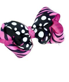 Hot Pink Zebra and Polkadot Layered Boutique Bow by KandyShoppe, $6.50