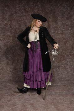 $30.00 Pirate Girl #3 cream base dress, purple corset/overskirt, headscarf, black coat