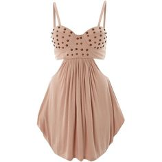 House of Dereon Cut out stud bustier dress ($40) ❤ liked on Polyvore featuring dresses, vestidos, robes, short dresses, rose, short loose dress, strappy dress, beige cocktail dress, cut out mini dress and studded bustier