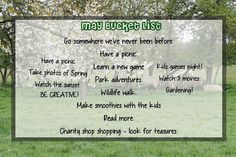 Our May Bucket list by Upside Down, Smiles & Frowns