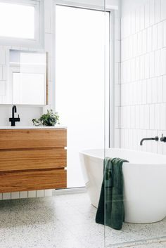 terrazzo flooring Before amp; after: Cobalt terrazzo creates statement floor - The Interiors Addict Master Bathroom Vanity, Laundry In Bathroom, Bathroom Inspo, Bathroom Faucets, Bathroom Inspiration, Small Bathroom, Master Bathrooms, Bathroom Ideas, Bathroom Organization