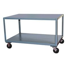 Mobile Table, Cap. 2400 Lb, 60 x 30 x 31 by Jamco. $496.14. Mobile Table, Load Capacity 2400 lb., Overall Length 61 In., Overall Width 31 In., Overall Height 31 In., Caster Type 2 Rigid, 2 Swivel, Caster Material Phenolic, Caster Size 6 In. x 2 In., Number of Shelves 2Material Welded Steel, Gauge 12, Color Gray, Powder Coat Finish, Includes 2 Shelves Welded Steel Mobile TablesGray powder-coated finishJamco12-ga. steel shelves and caster mounts. 4DKN8 and 4DKN9 have a tubular h...