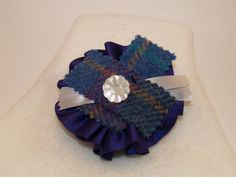 Purple Ribbon Brooch with Blue and Purple by GoldenpennyCrafts