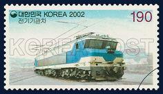 Train Series (3rd), commemoration, train, white, Sky blue, 2002 02 04,기차시리즈(세번째묶음), 2002년 02월 04일, 2204, 전기기관차, Postage  우표