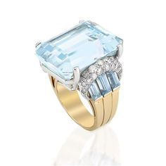 Gold, Platinum, Aquamarine and Diamond Ring   Centering one emerald-cut aquamarine approximately 32.25 cts., flanked by 6 rectangular-cut aquamarines, surmounted by two bombe platinum ribbons set with 34 round diamonds approximately 1.20 cts., circa 1940, approximately 17.2 dwt.