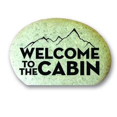 Garden Stone (with Cut Bottom) - Welcome to the Cabin with Mountains
