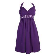 Knee Length Cadburys Purple Diamante Beaded Formal Halterneck Dress