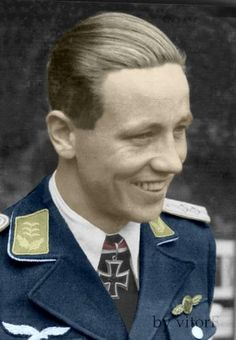 night fighter ace of Luftwaffe Major Martin Drewes in colorized photo, credits to VitorF