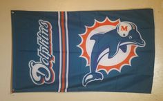 NFL Miami Dolphins Logo 3x5 Football Flag Banner Man Cave FREE SHIPPING…