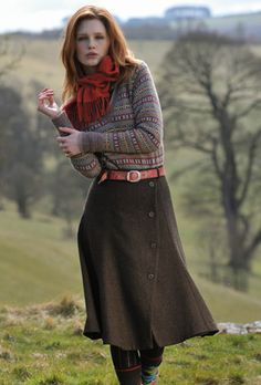 Hollyburn or Zinnia skirt tweak with Fairisle jumper? Herringbone Tweed Skirt
