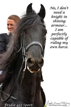 """""""No, I don't need a knight in shining armor... I am perfectly capable of riding my own horse."""""""