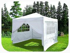 3M x 3M WHITE POP-UP PYRAMID ROOF WATERPROOF GAZEBO TENT MARQUEE WITH WINDBAR