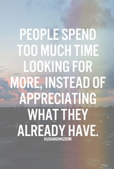 People spend too much time looking for more, instead of appreciating what they already have..
