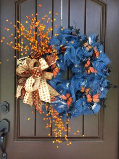 2017 Autumn Denim Wreath with Butterflies Tutorial - Trendy Tree Blog| Holiday Decor Inspiration | Wreath Tutorials|Holiday Decorations| Mesh & Ribbons