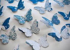 Inspired by the monarch butterflies that migrate to the eucalyptus groves near her home in winter, Wolfe creates a 50th-wedding-anniversary gift in their likeness, popping the wings for a 3-D effect. Old love letters, scraps of wedding-dress fabric, and champagne labels make up the patterns.