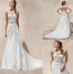 Wholesale A Line Sweetheart Appliques Embriodery Lace Wedding Dresses With Crystal Sash Sexy Backless Tulle Bridal Gowns Custom Made, Free shipping, $129.85/Piece | DHgate Mobile