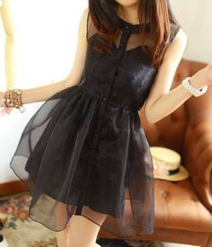 Retro Classical Sweet Button Placket Organza  Sleeveless Dress  #fashion #clothes #black