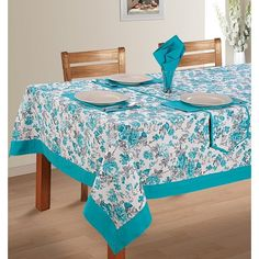 Turquoise Printed Rectangular Table-linen