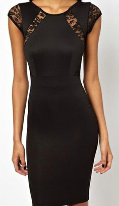 Little Black Dress with Lace Panels #LBD #fashion #party #fashion