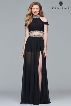 Be unique and wear one of our celebrity inspired dresses. FAVIANA S10032 is a black two-piece long chiffon cold shoulder dress that features shorts with a beaded waist and neck